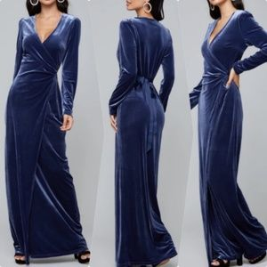 WRAP VELVET MAXI DRESS BEBE brand new with tags